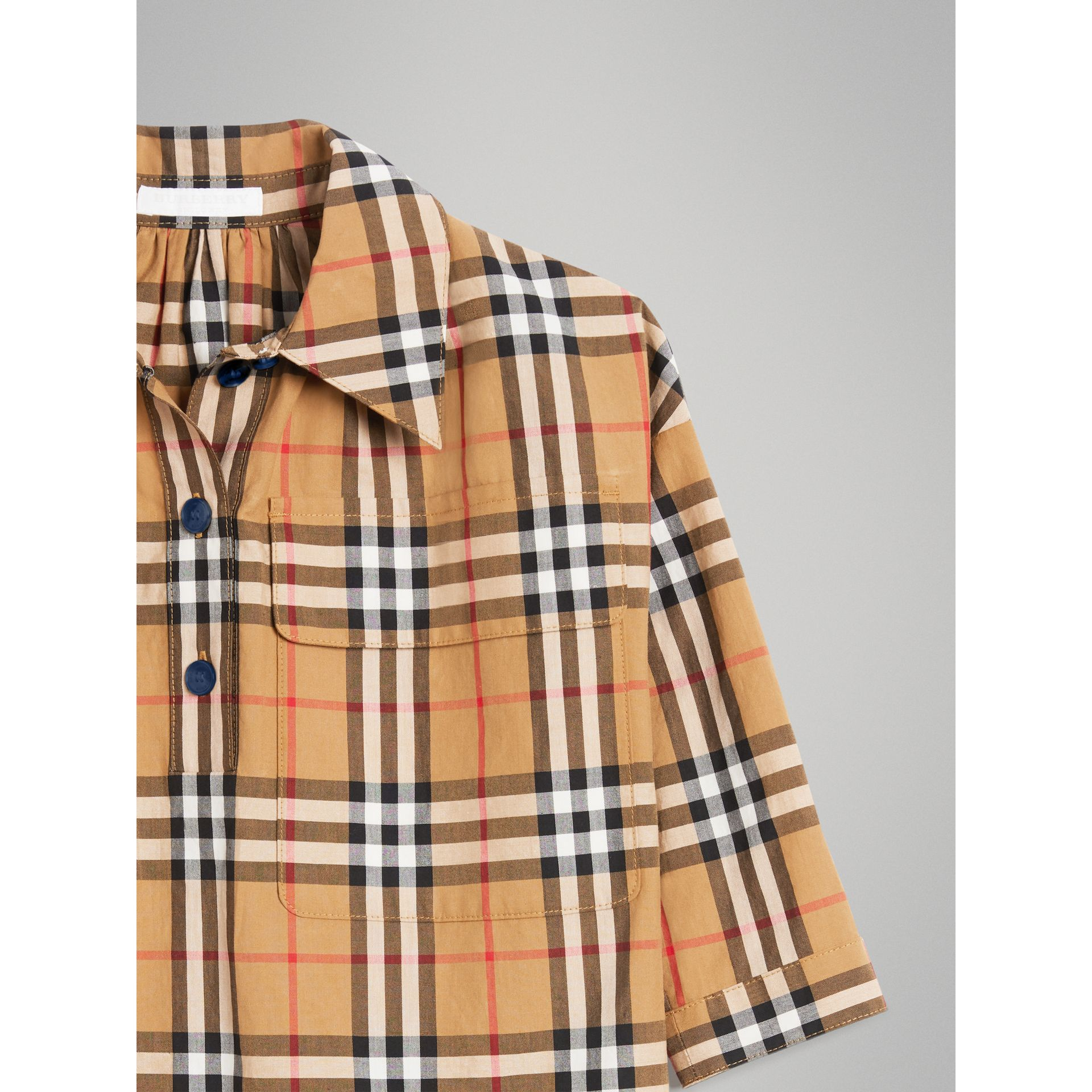 Vintage Check Shirt Dress in Antique Yellow | Burberry - gallery image 4