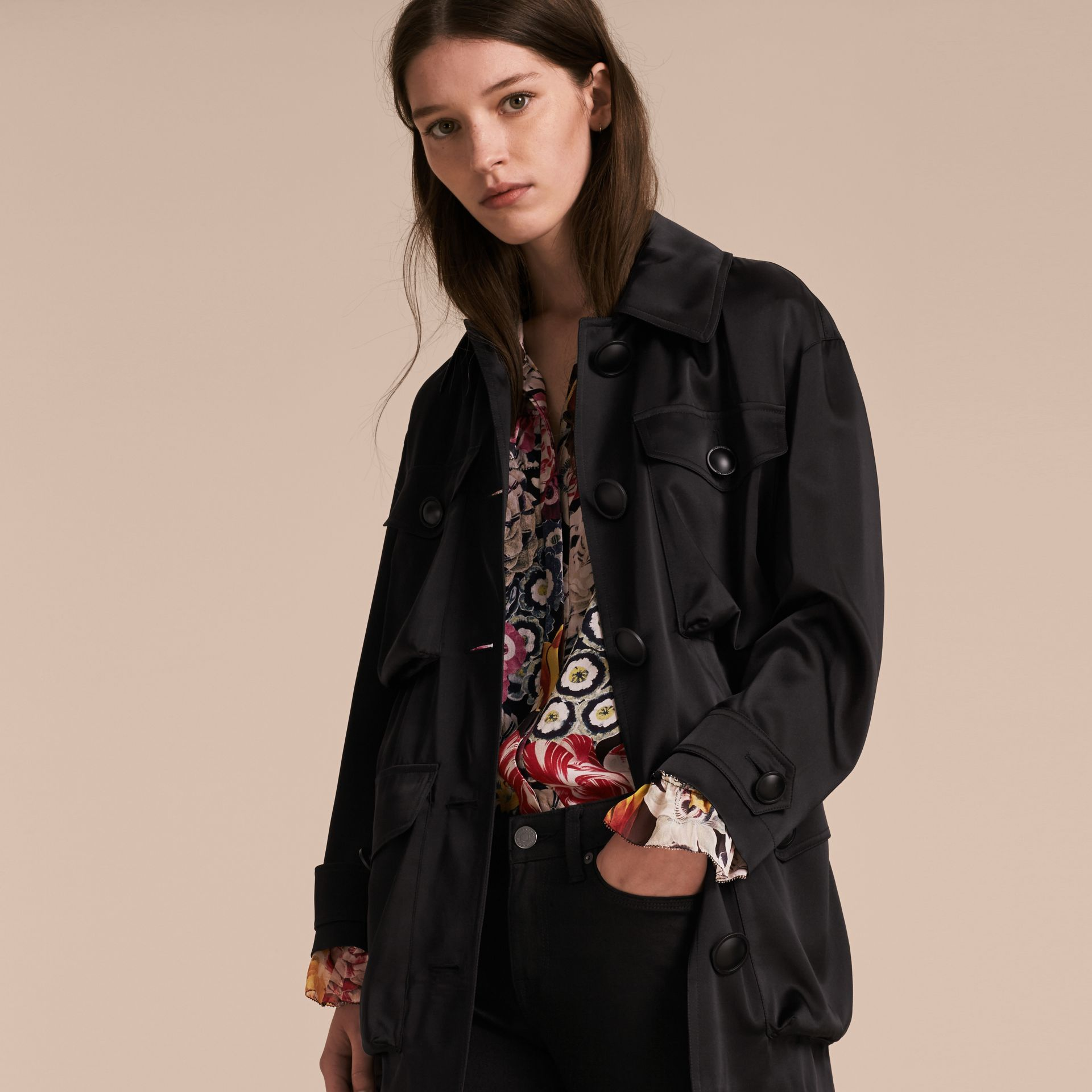 Check Undercollar Silk Field Jacket - Women | Burberry - gallery image 7