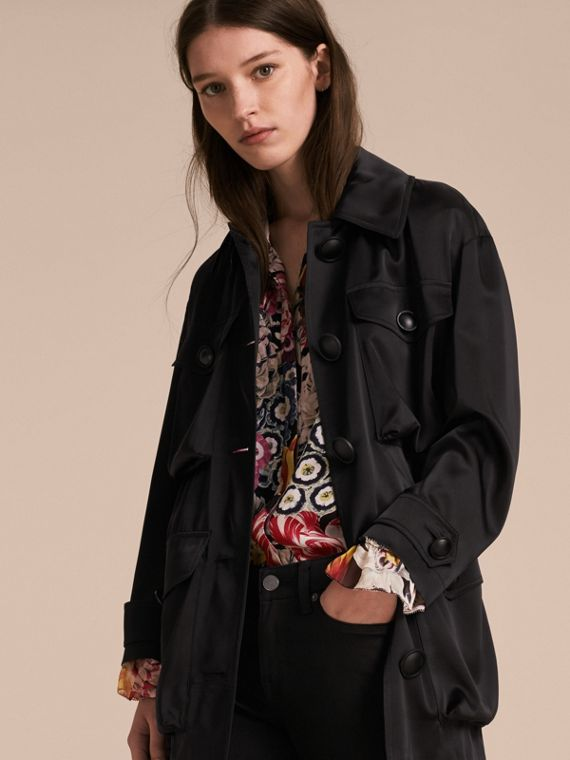 Check Undercollar Silk Field Jacket