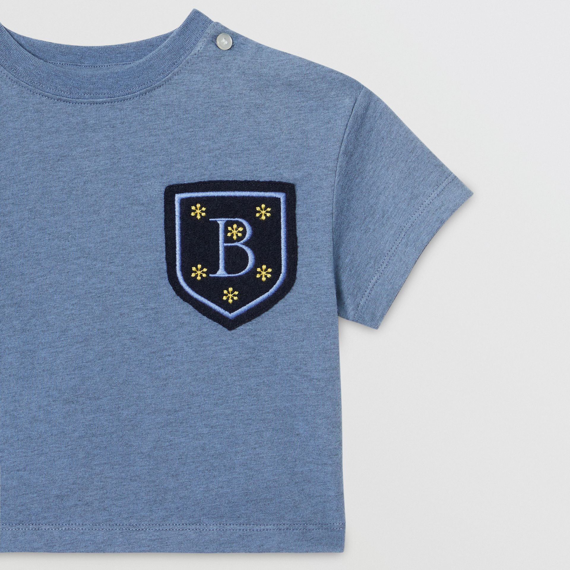 Logo Montage Cotton T-shirt in Dusty Blue - Children | Burberry - gallery image 4