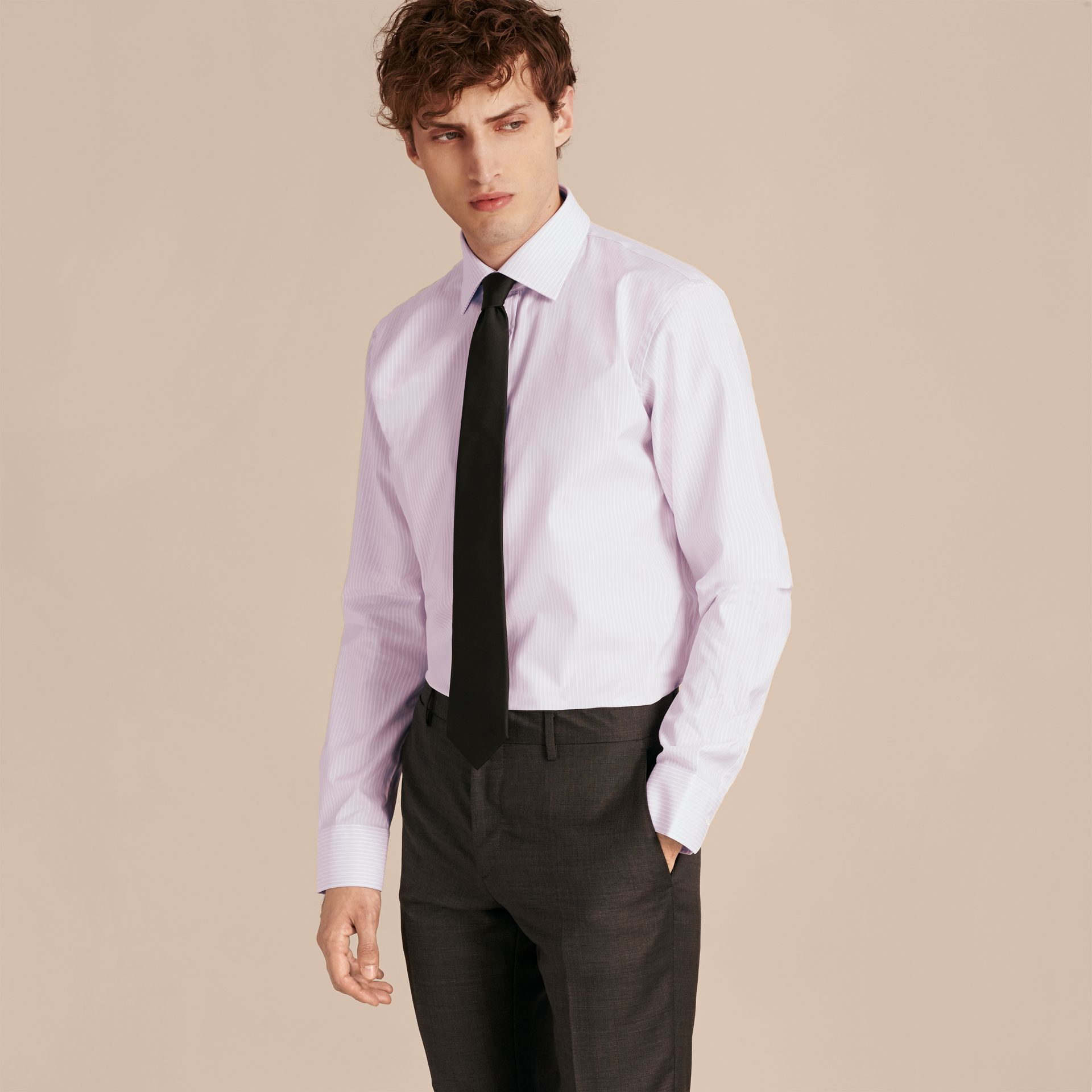 City lilac Modern Fit Double-cuff Striped Cotton Shirt - gallery image 6