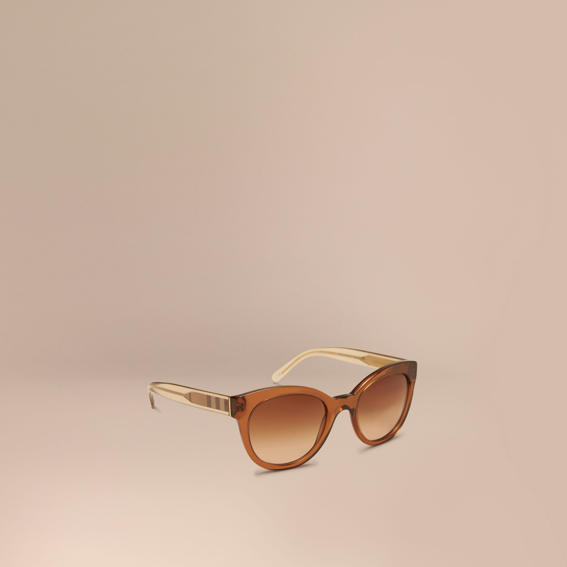 Taupe brown Check Detail Oval Sunglasses Taupe Brown - gallery image 1