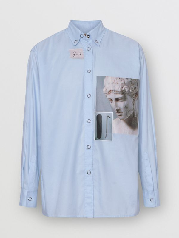 Press-stud Collar Montage Print Cotton Shirt in Pale Blue - Women | Burberry - cell image 3