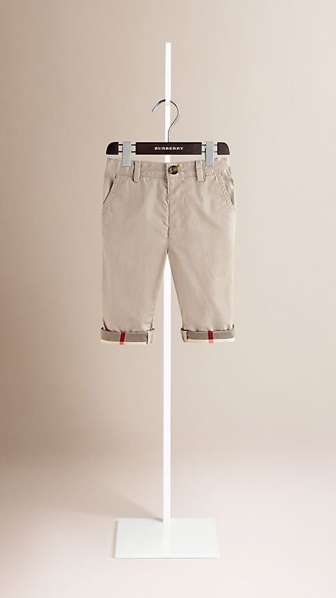 Taupe Check Cuff Chinos - Image 1