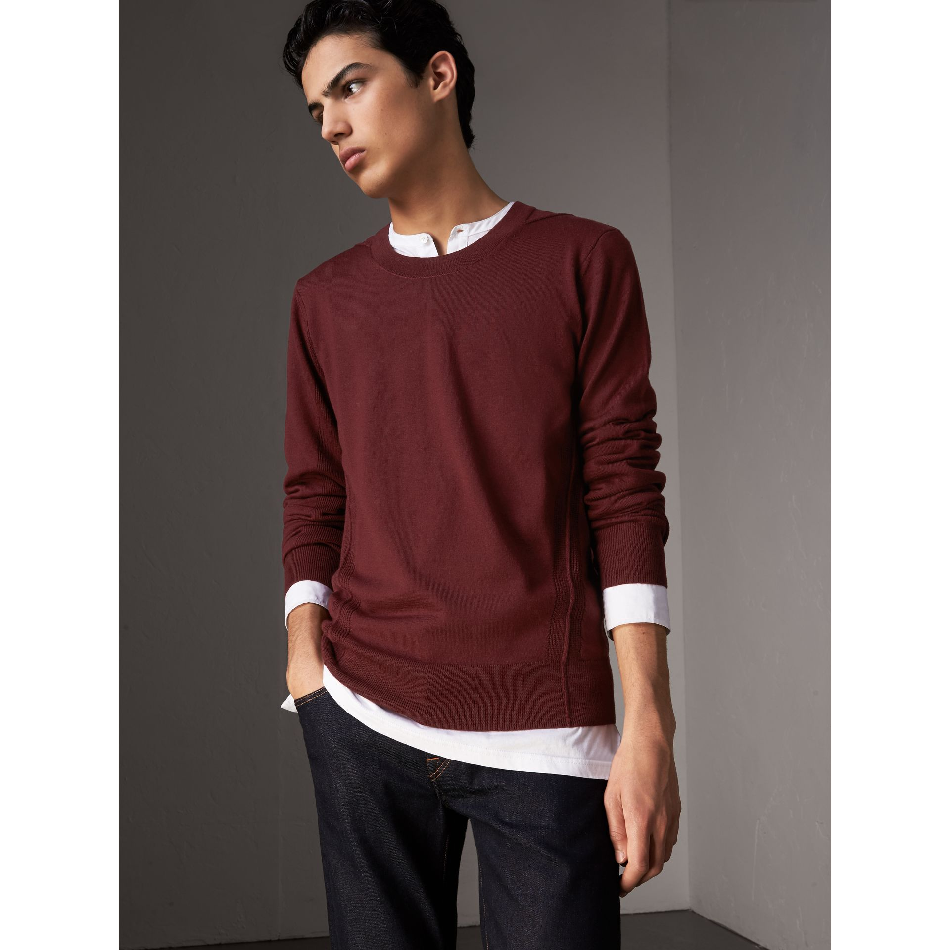 Check Detail Merino Wool Sweater in Burgundy - Men | Burberry - gallery image 1