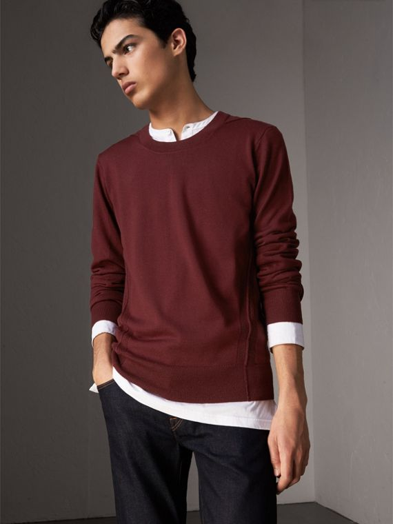 Check Detail Merino Wool Sweater in Burgundy