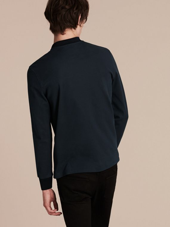 Storm blue/navy Long-sleeved Cotton Piqué Polo Shirt Storm Blue/navy - cell image 2