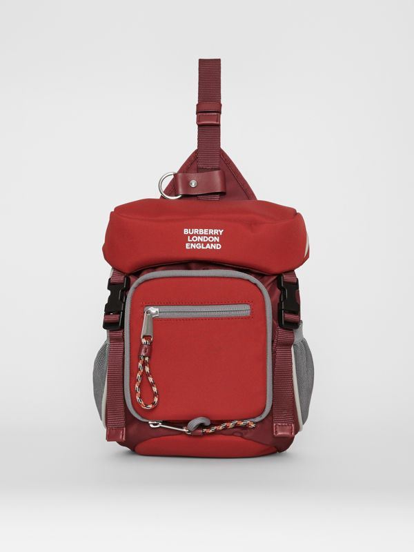 Logo Print Nylon Leo Belt Pack in Bright Red | Burberry - cell image 3