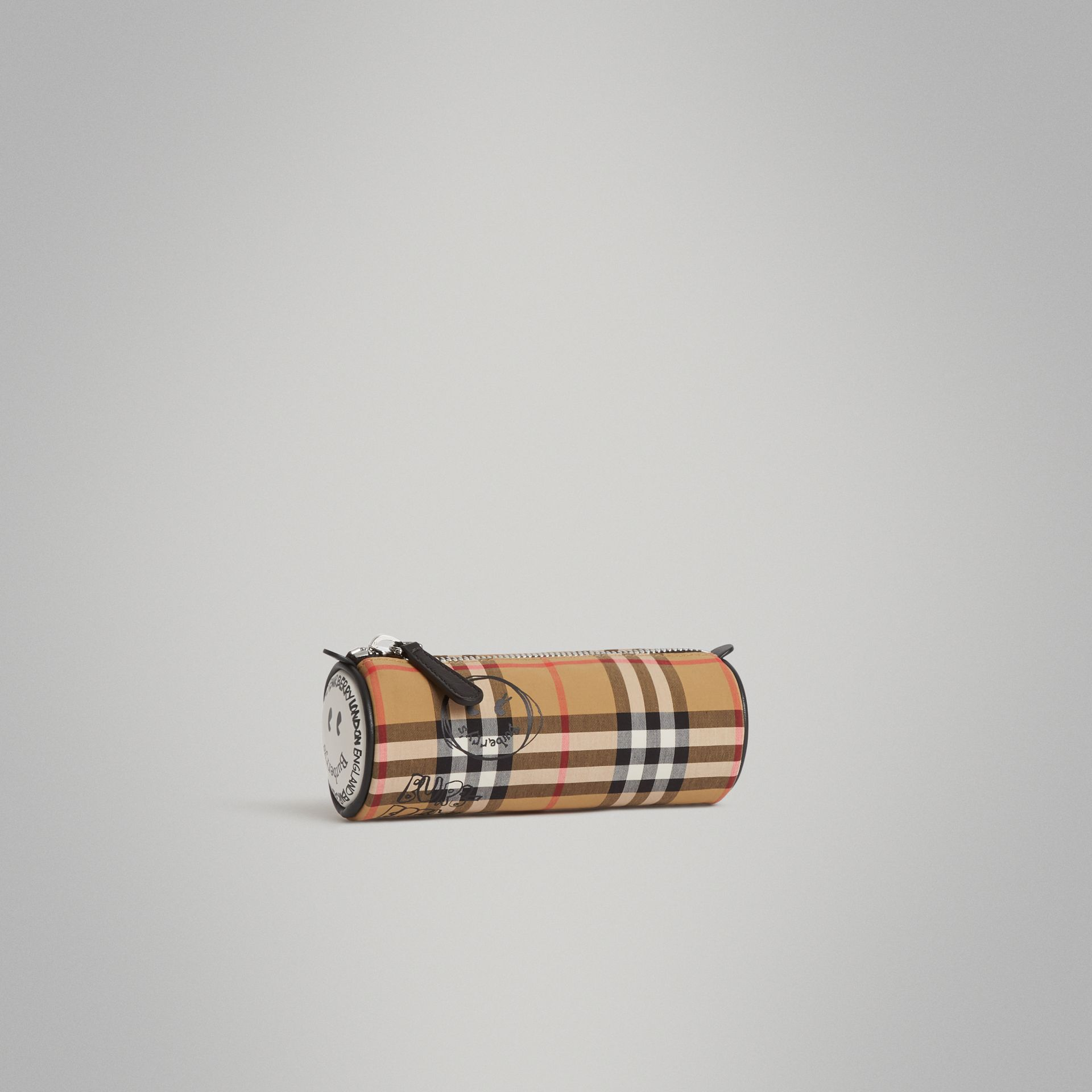 Street Art Print Vintage Check Pencil Case in Antique Yellow | Burberry - gallery image 0