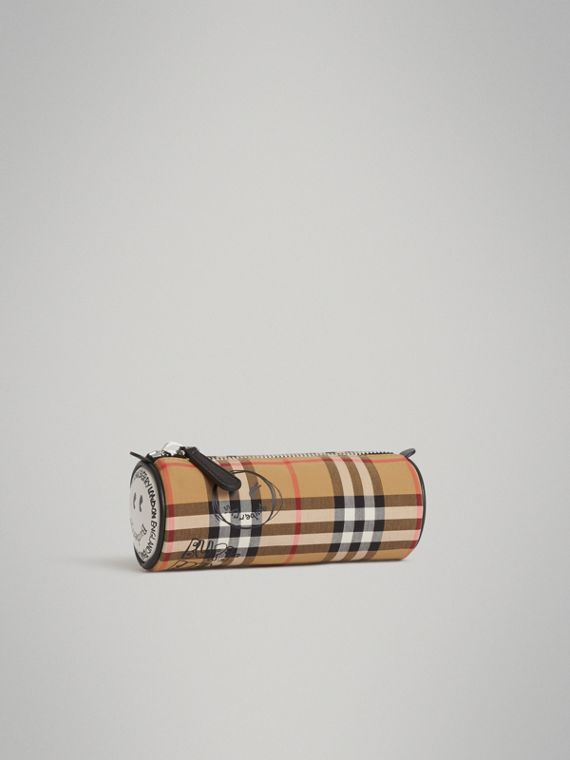 Street Art Print Vintage Check Pencil Case in Antique Yellow