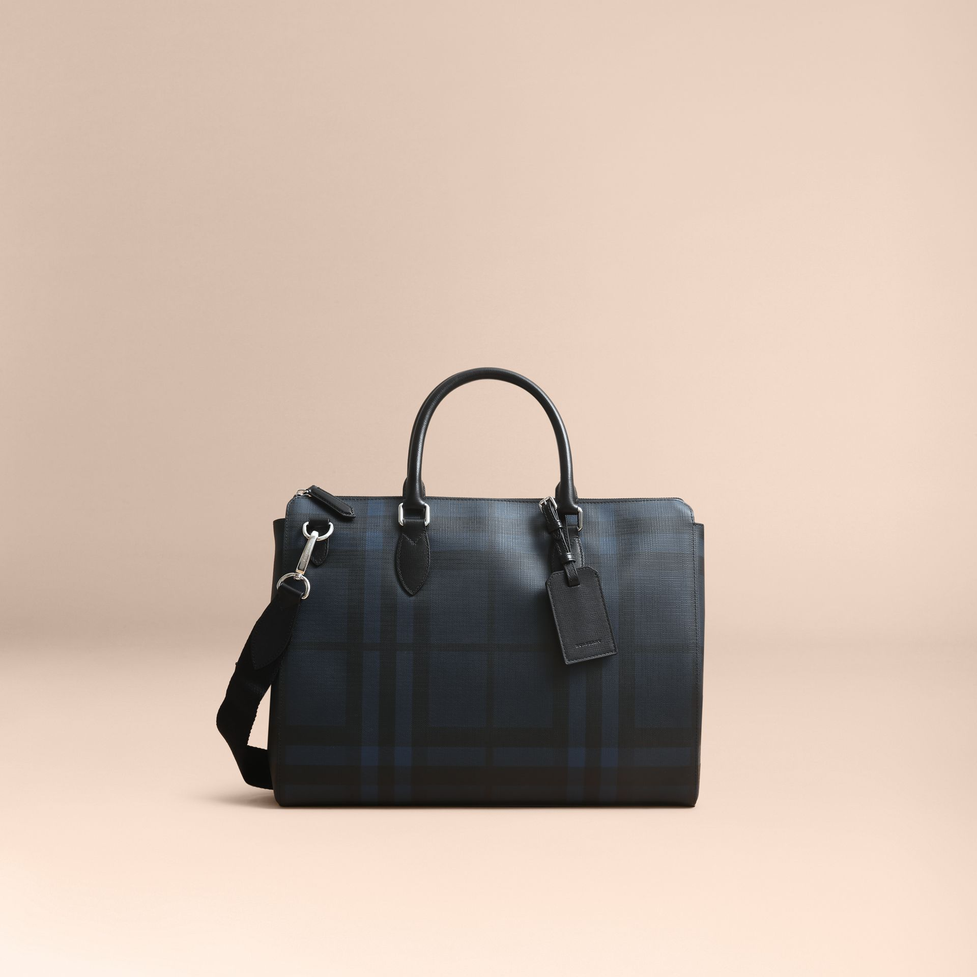 Large London Leather Briefcase in Dark Navy - Men | Burberry - gallery image 6