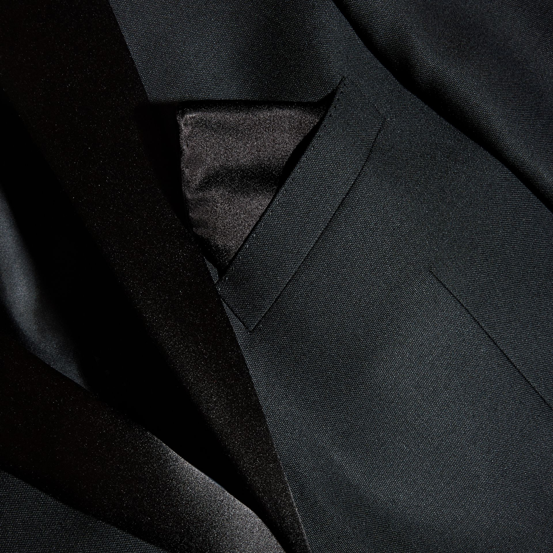 Black Silk Pocket Square Black - gallery image 3