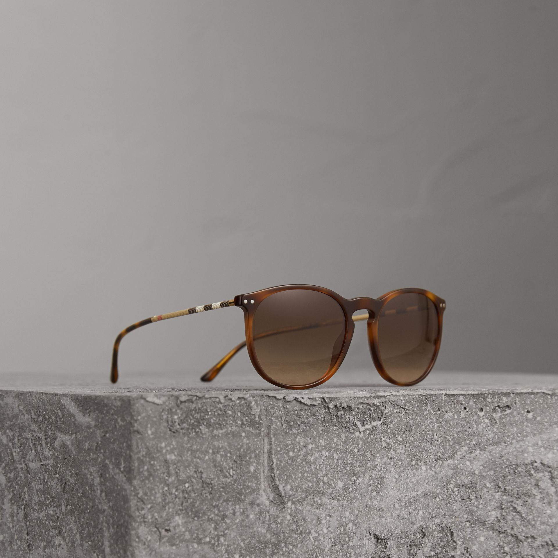 Check Detail Round Frame Sunglasses in Light Brown - Men | Burberry United States - gallery image 0
