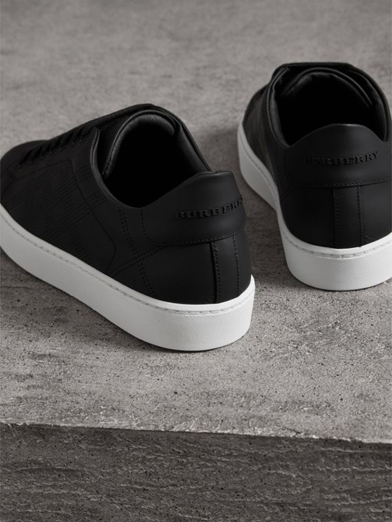 Perforated Check Leather Sneakers in Black - Women | Burberry - cell image 3
