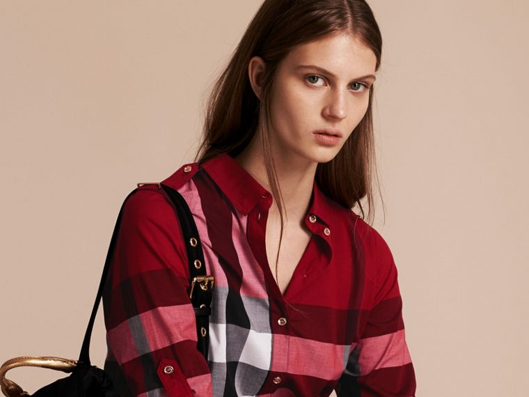 Parade red Check Cotton Shirt Dress Parade Red - cell image 4