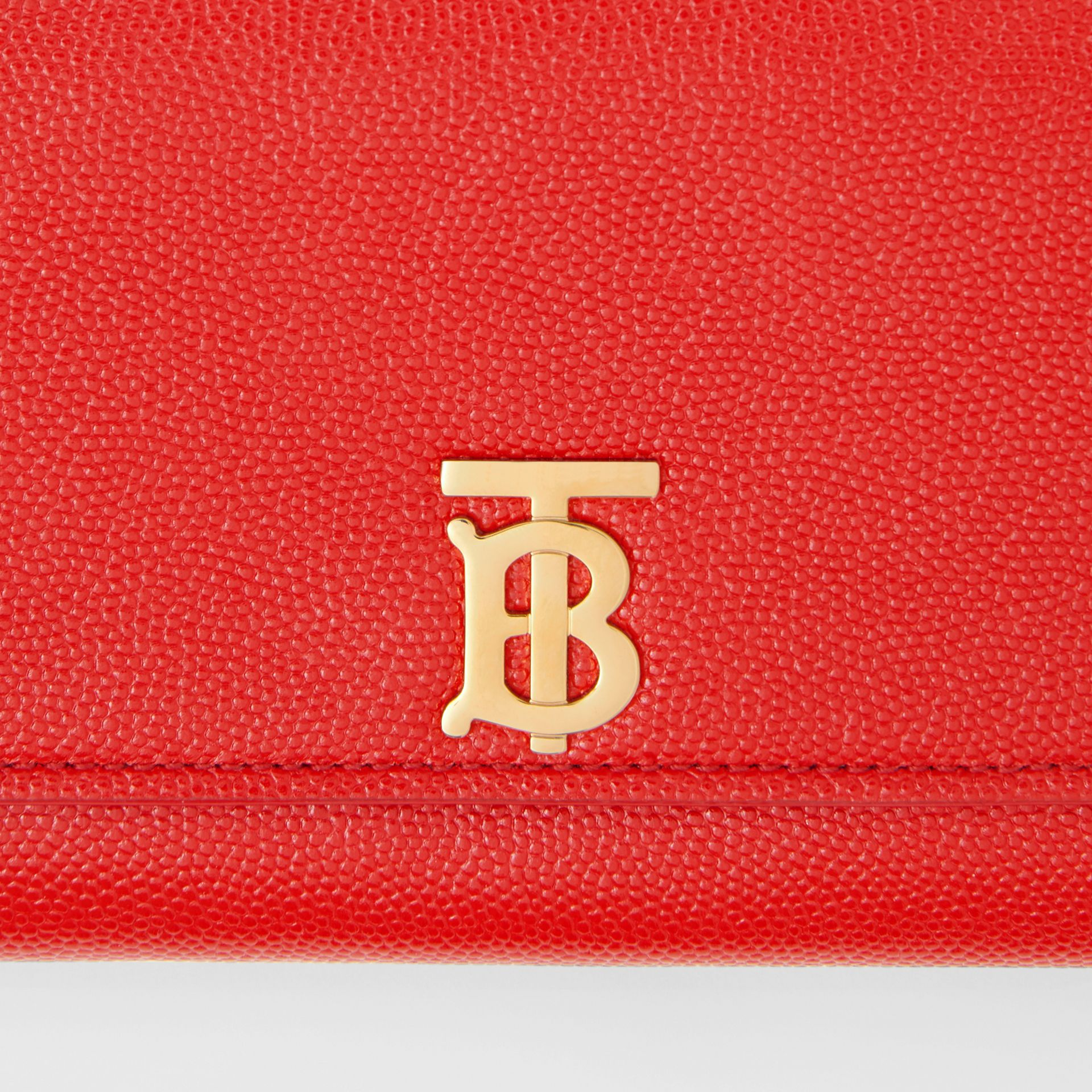 Monogram Motif Grainy Leather Continental Wallet in Bright Red - Women | Burberry - gallery image 1
