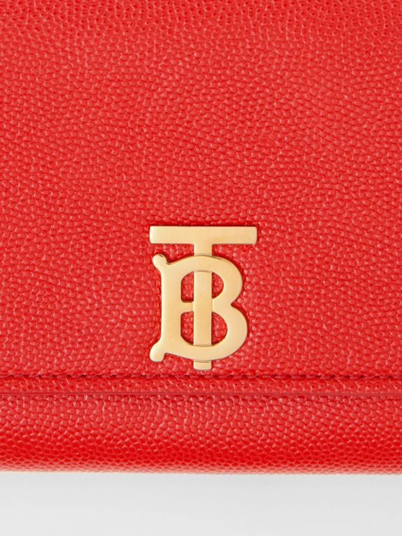 Monogram Motif Grainy Leather Continental Wallet in Bright Red - Women | Burberry - cell image 1