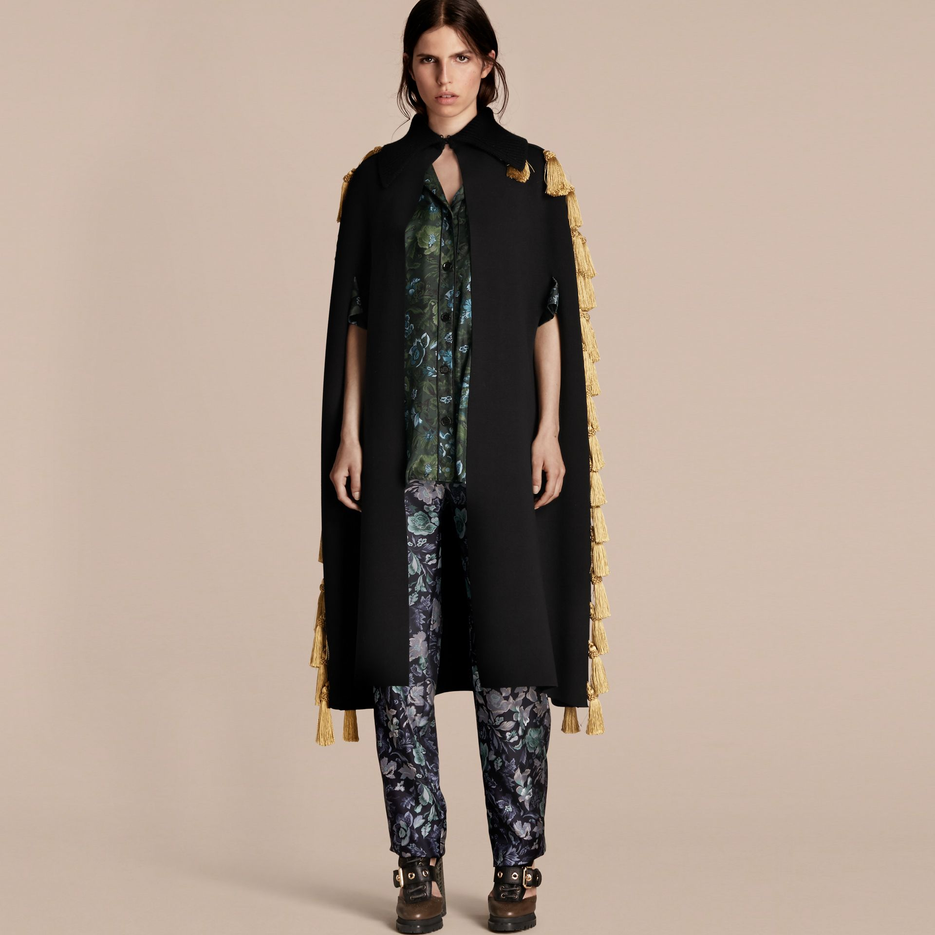 Wool Blend Military Cape with Tassels - gallery image 1