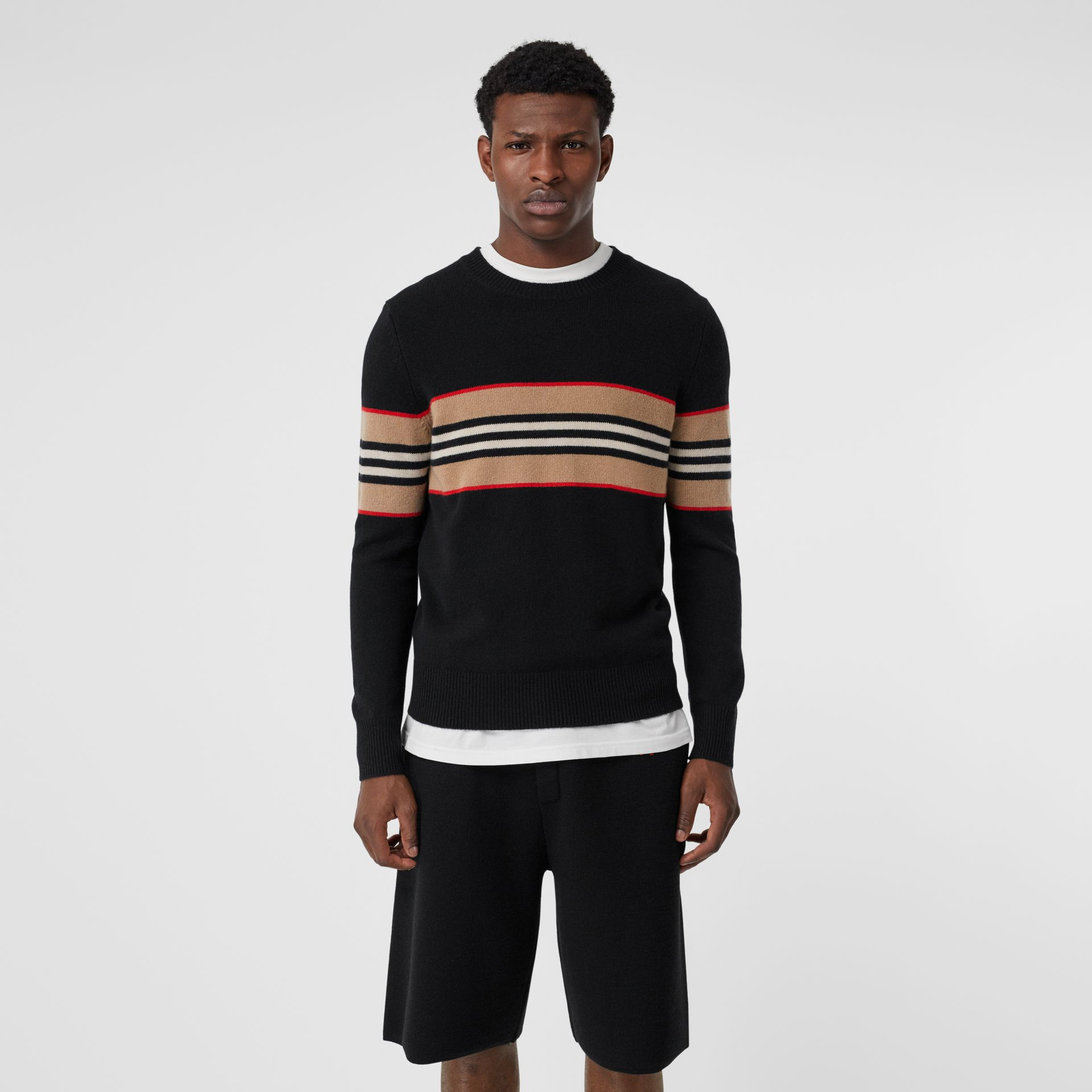 Icon Stripe Detail Cashmere Sweater in Black - Men | Burberry - gallery image 4