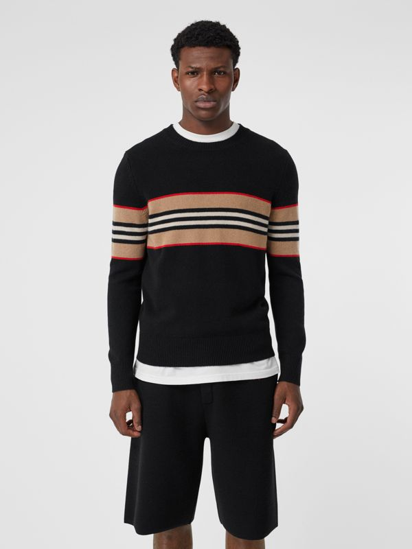 Icon Stripe Detail Cashmere Sweater in Black - Men | Burberry Hong Kong - cell image 3