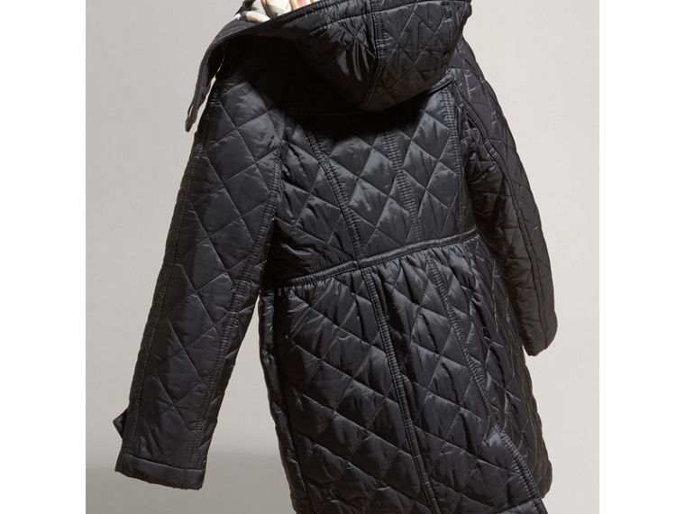 Diamond Quilted Trench Coat in Black - Girl | Burberry Australia - cell image 2