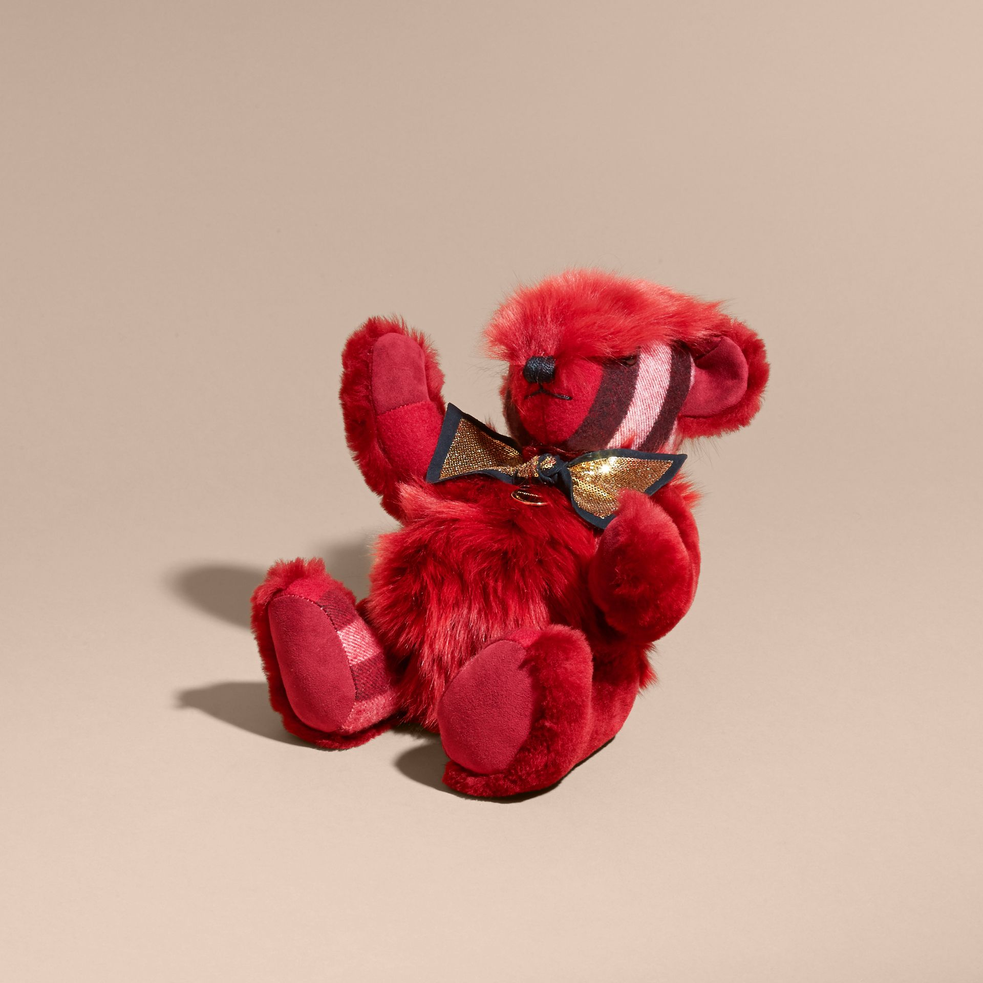 Parade red Pom-Pom Thomas Bear in Shearling and Check Cashmere Parade Red - gallery image 3