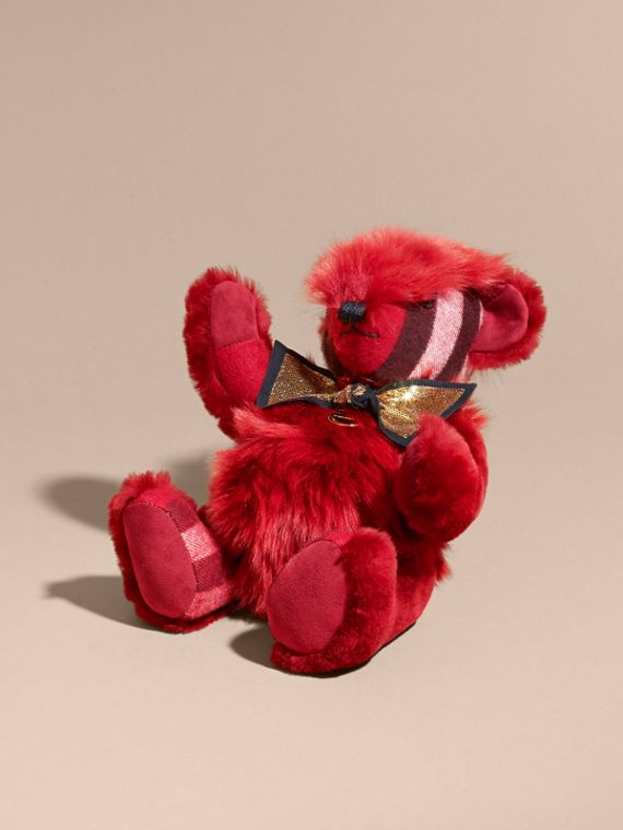 Pom-Pom Thomas Bear in Shearling and Check Cashmere in Parade Red | Burberry - cell image 2