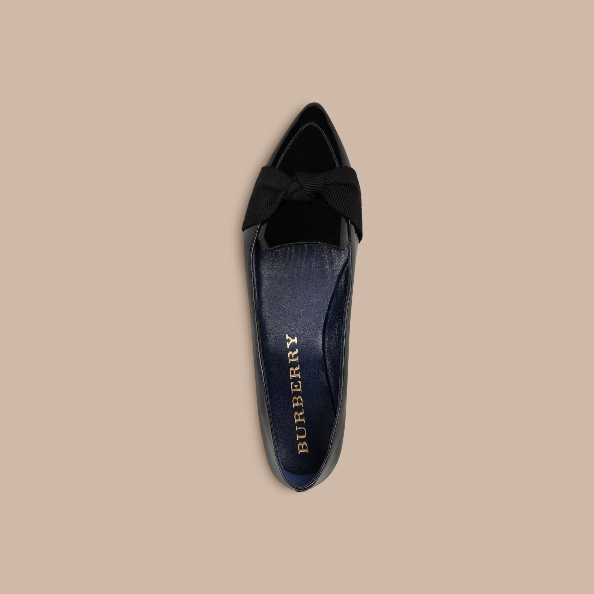 Navy Patent Leather Loafers with Grosgrain Bow Navy - gallery image 3