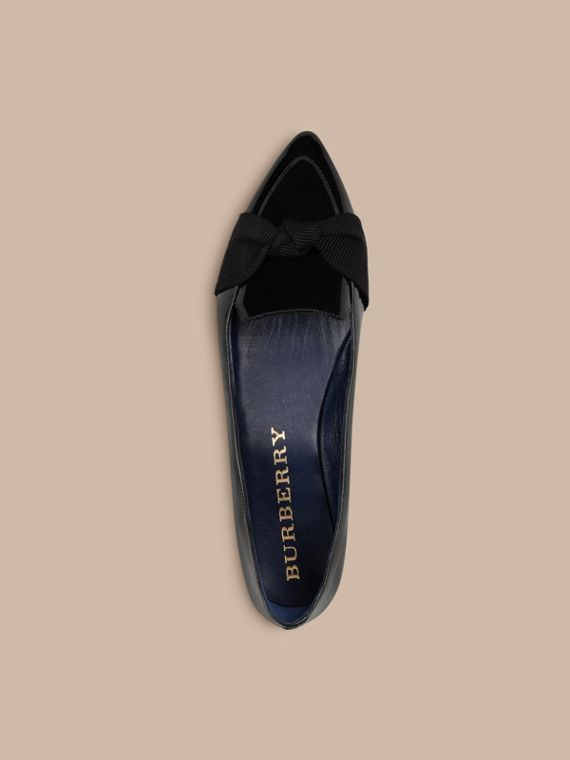 Navy Patent Leather Loafers with Grosgrain Bow Navy - cell image 2