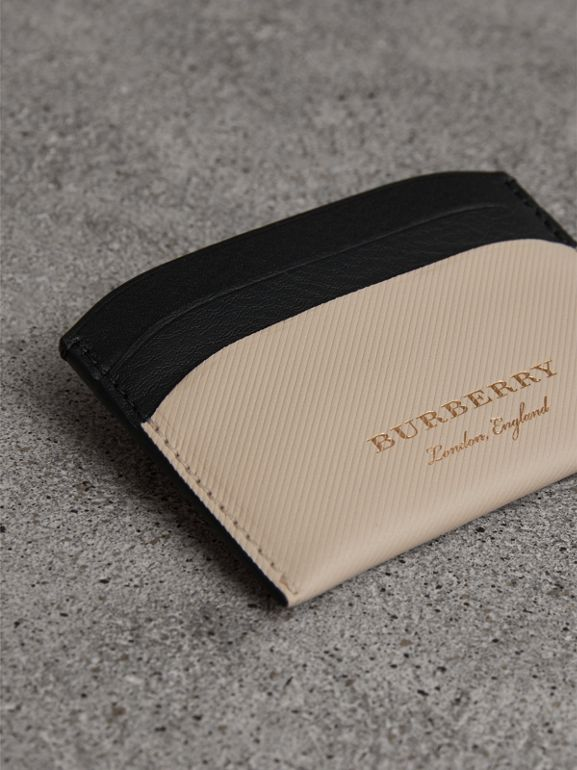 Two-tone Trench Leather Card Case in Limestone/ Black | Burberry - cell image 1