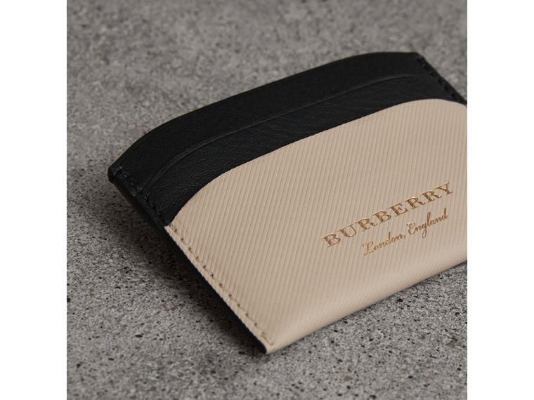 Porta carte di credito bicolore in pelle Trench (Calcare/nero) | Burberry - cell image 1