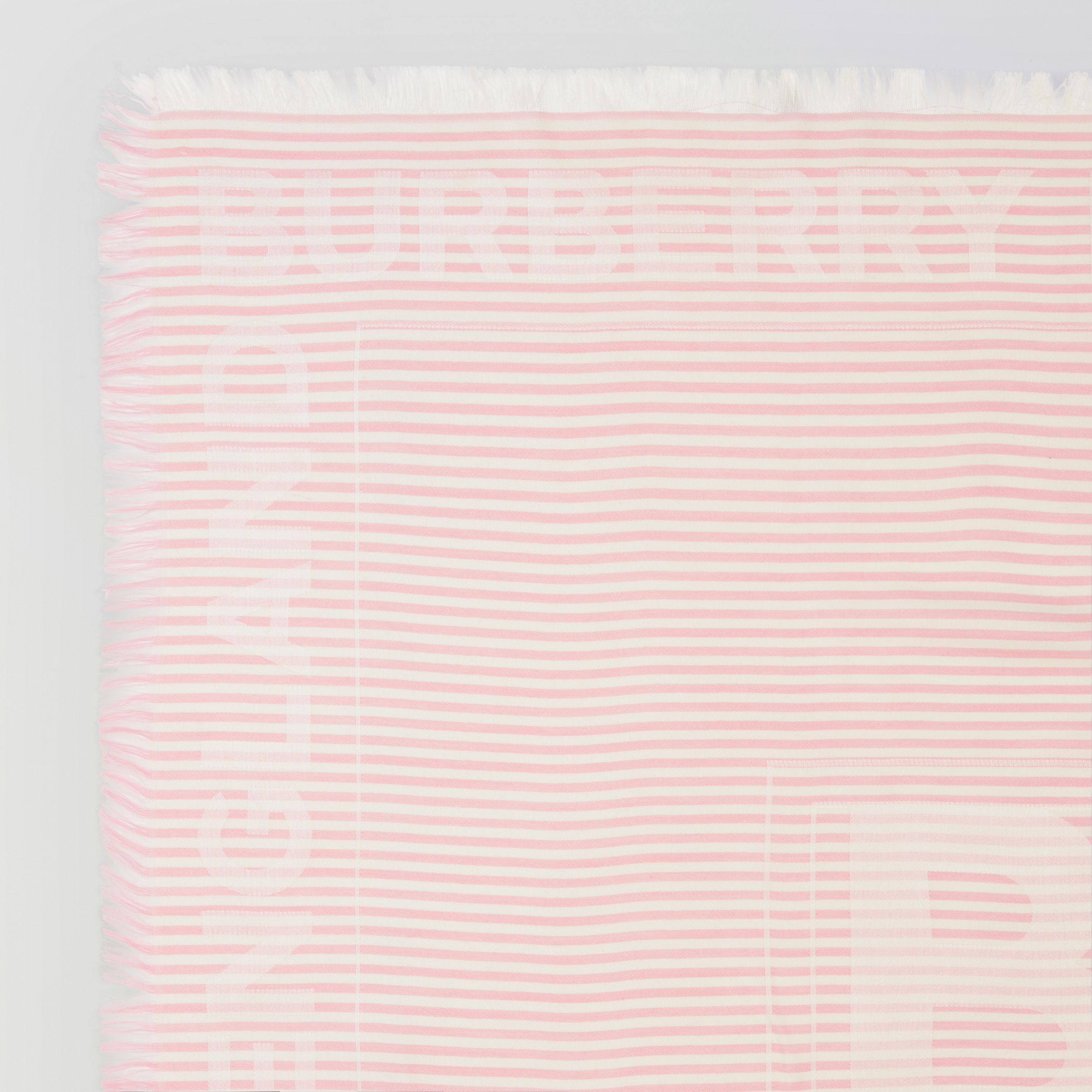 Striped Logo Silk Wool Jacquard Large Square Scarf in Peony Pink | Burberry - 2