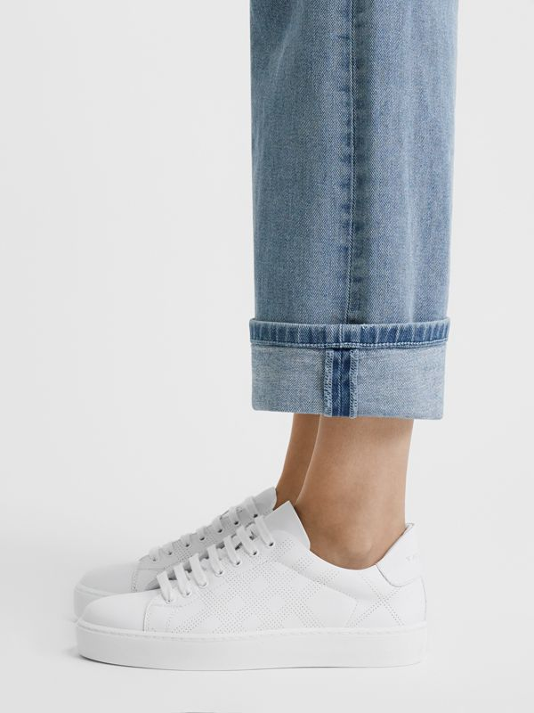 Perforated Check Leather Sneakers in Optic White - Women | Burberry United Kingdom - cell image 2