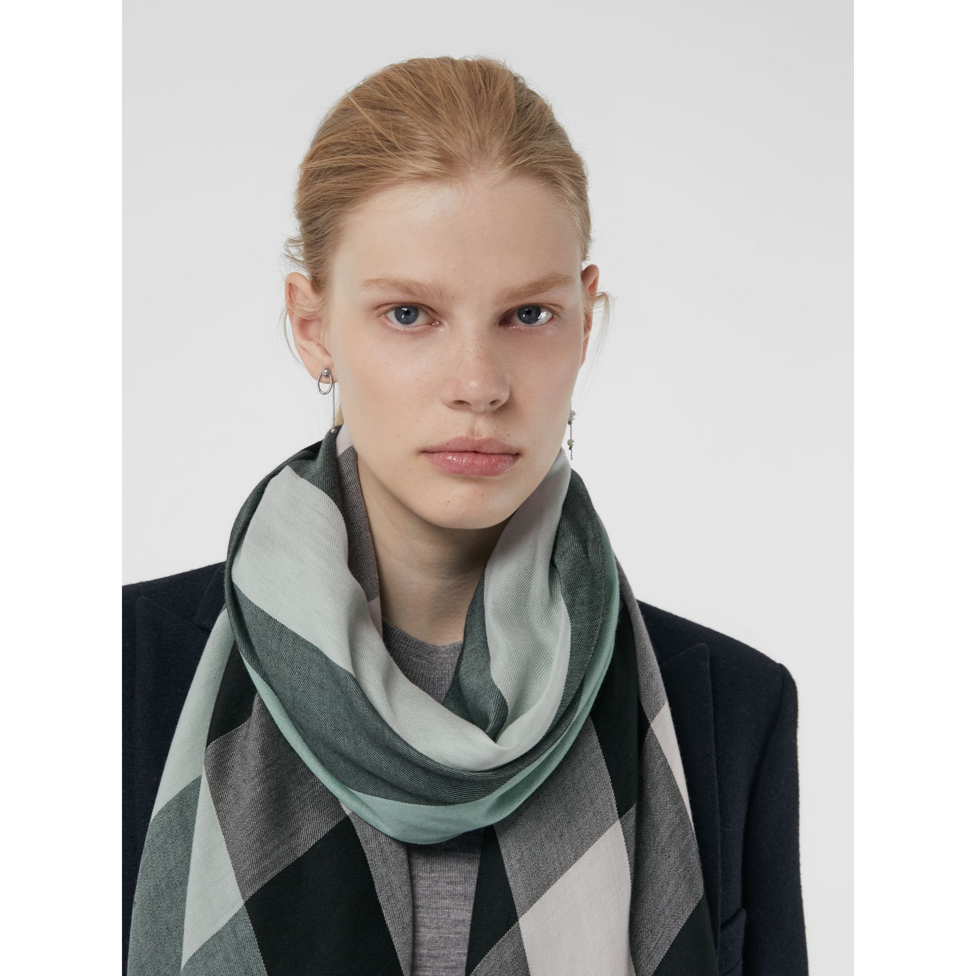 Lightweight Check Cashmere Scarf in Dusty Mint | Burberry - gallery image 5
