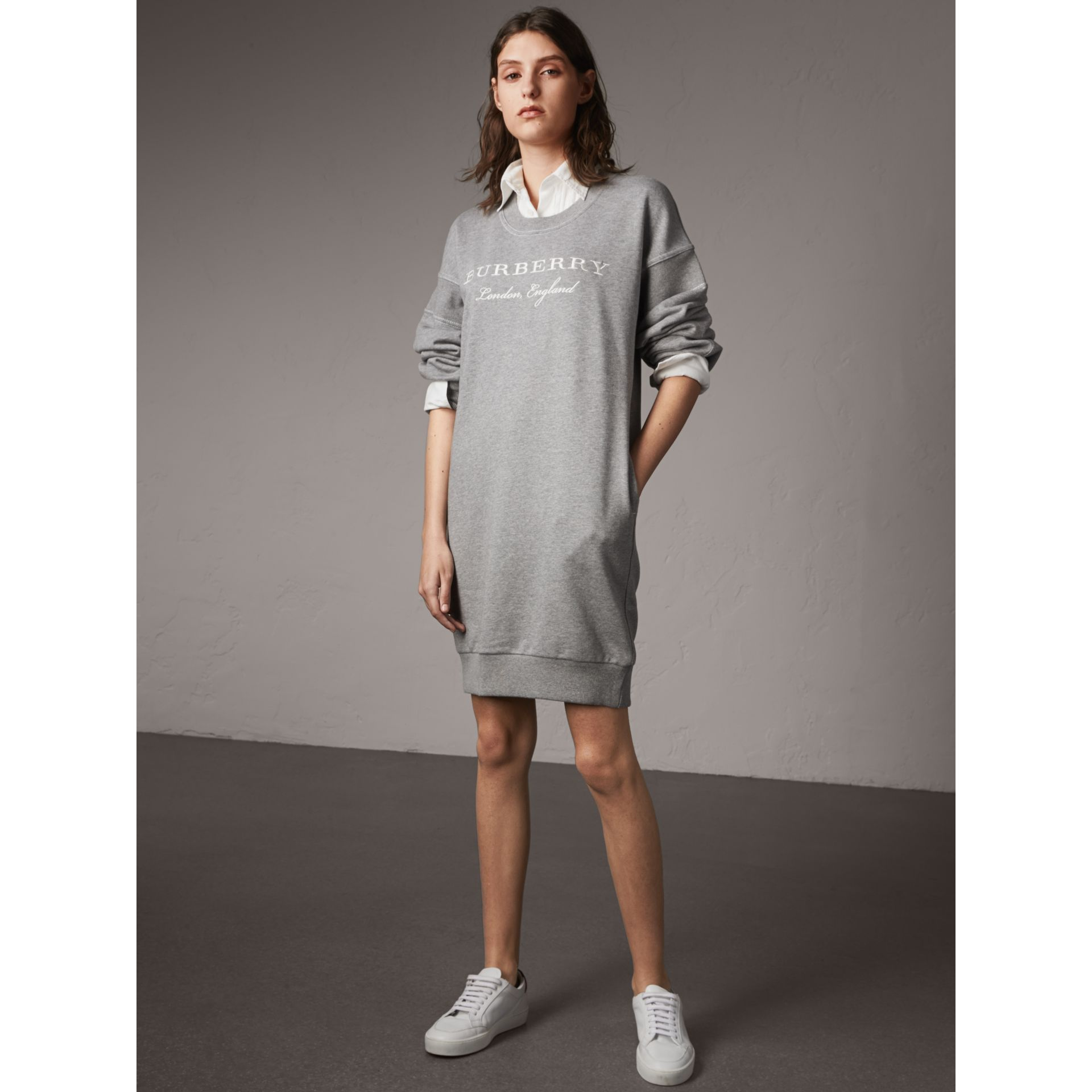 Embroidered Motif Cotton Jersey Sweatshirt Dress in Pale Grey Melange - Women | Burberry - gallery image 4