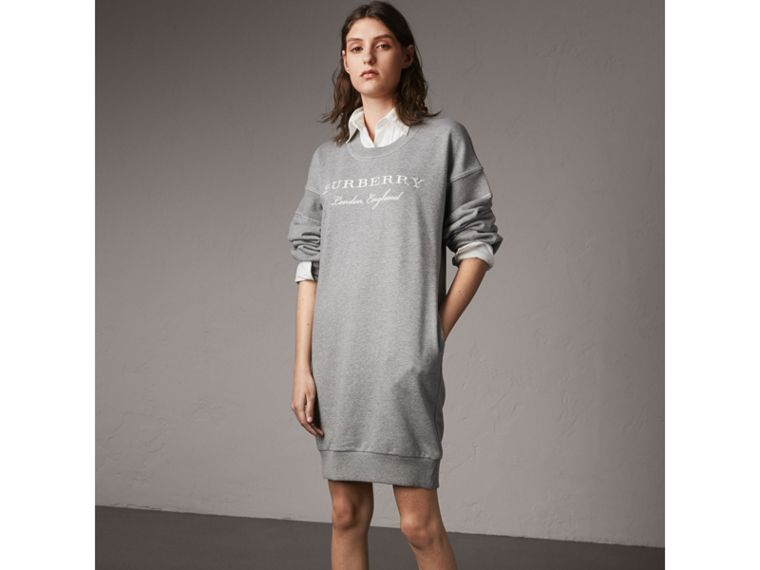 Embroidered Motif Cotton Jersey Sweatshirt Dress in Pale Grey Melange - Women | Burberry - cell image 4