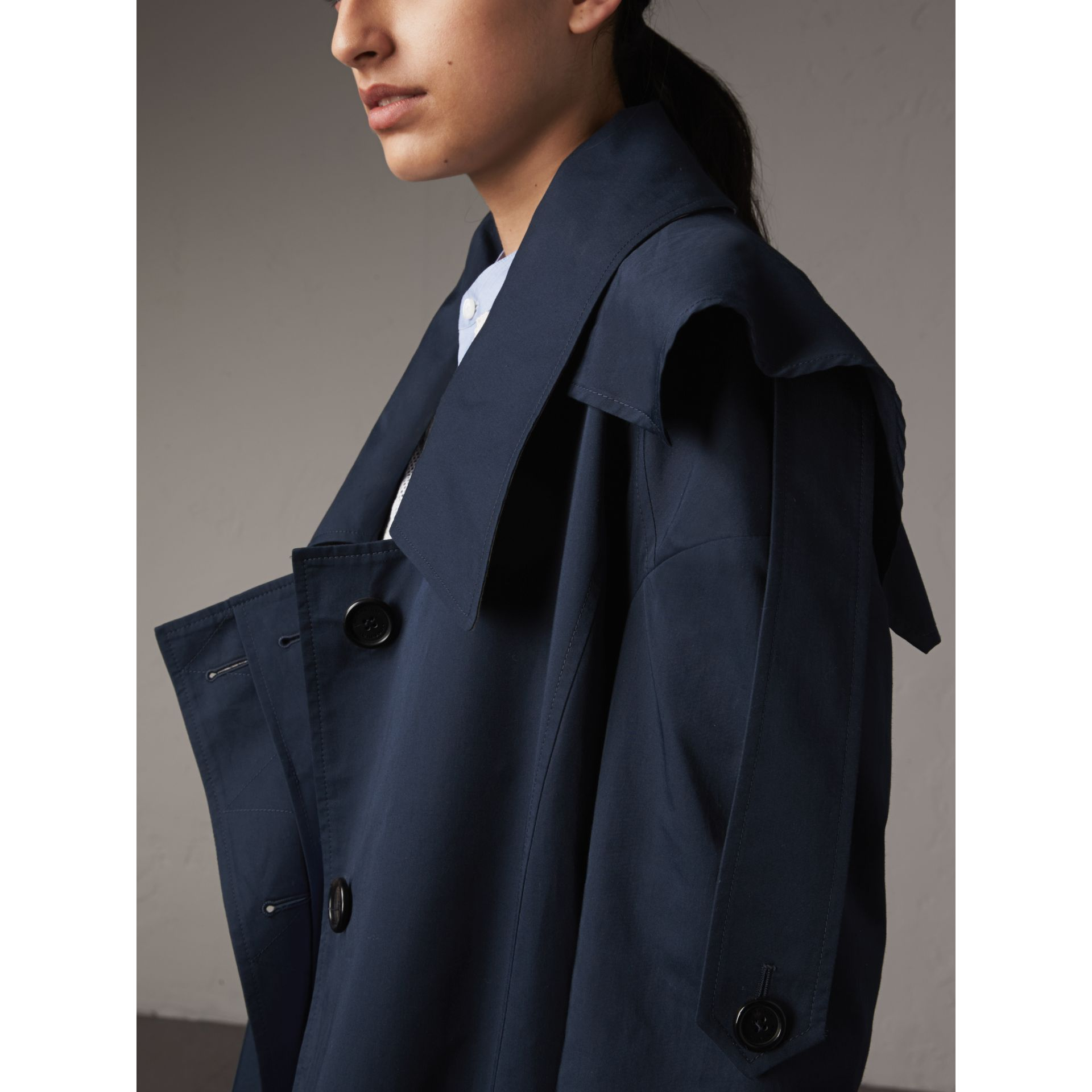 Cotton Asymmetric Trench Coat in Navy - Women | Burberry Australia - gallery image 2