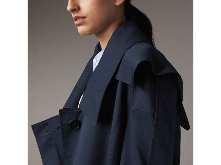 Cotton Asymmetric Trench Coat in Navy - Women | Burberry - cell image 1