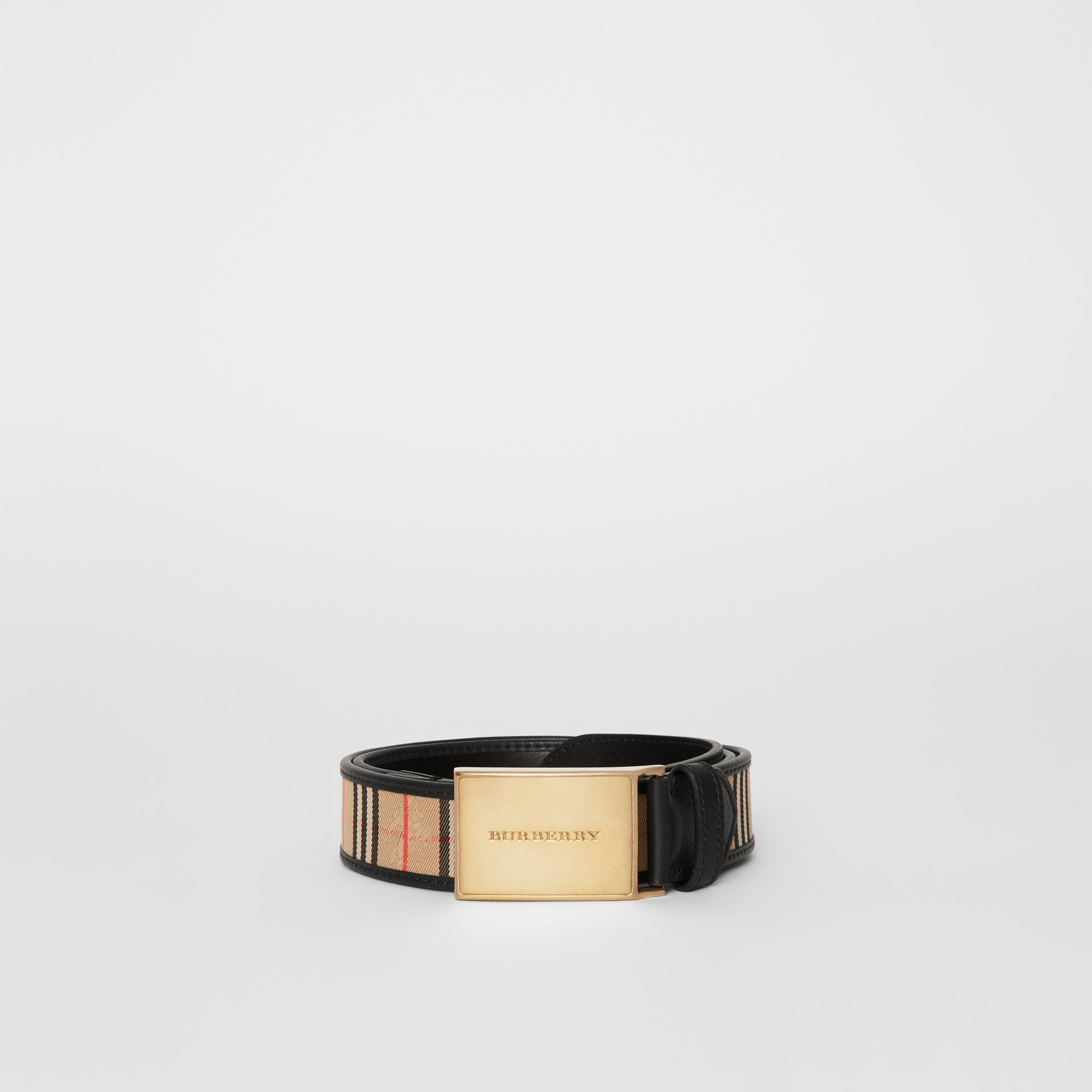 Plaque Buckle 1983 Check and Leather Belt in Black - Men | Burberry Australia - gallery image 3