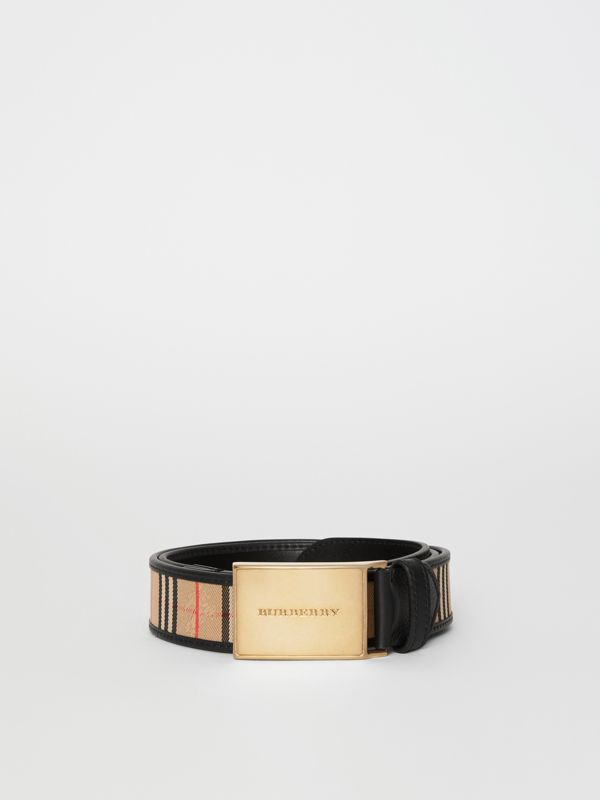 Plaque Buckle 1983 Check and Leather Belt in Black - Men | Burberry Australia - cell image 3
