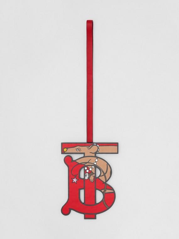Adorno tipo llavero en piel con motivo de monograma (Rojo)
