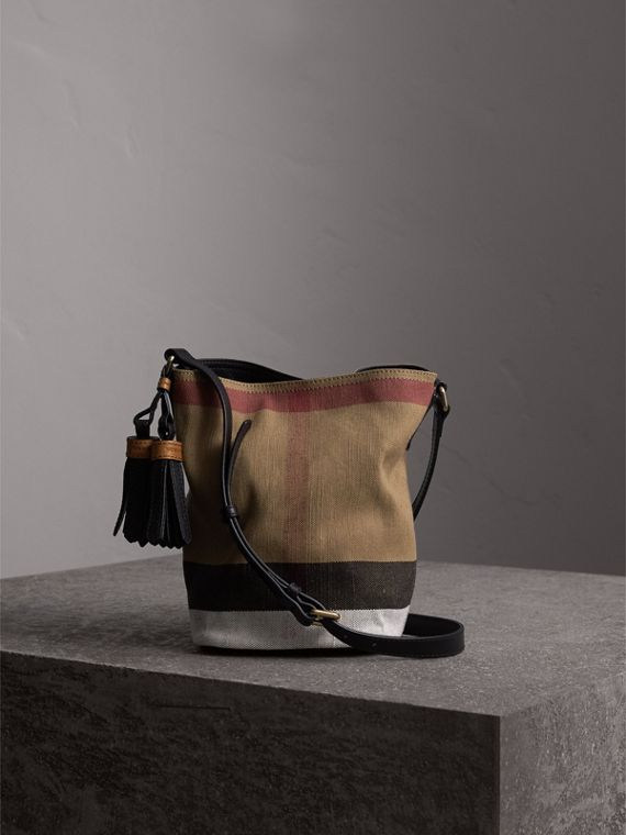 The Ashby piccola con pelle e motivo Canvas check (Nero) - Donna | Burberry