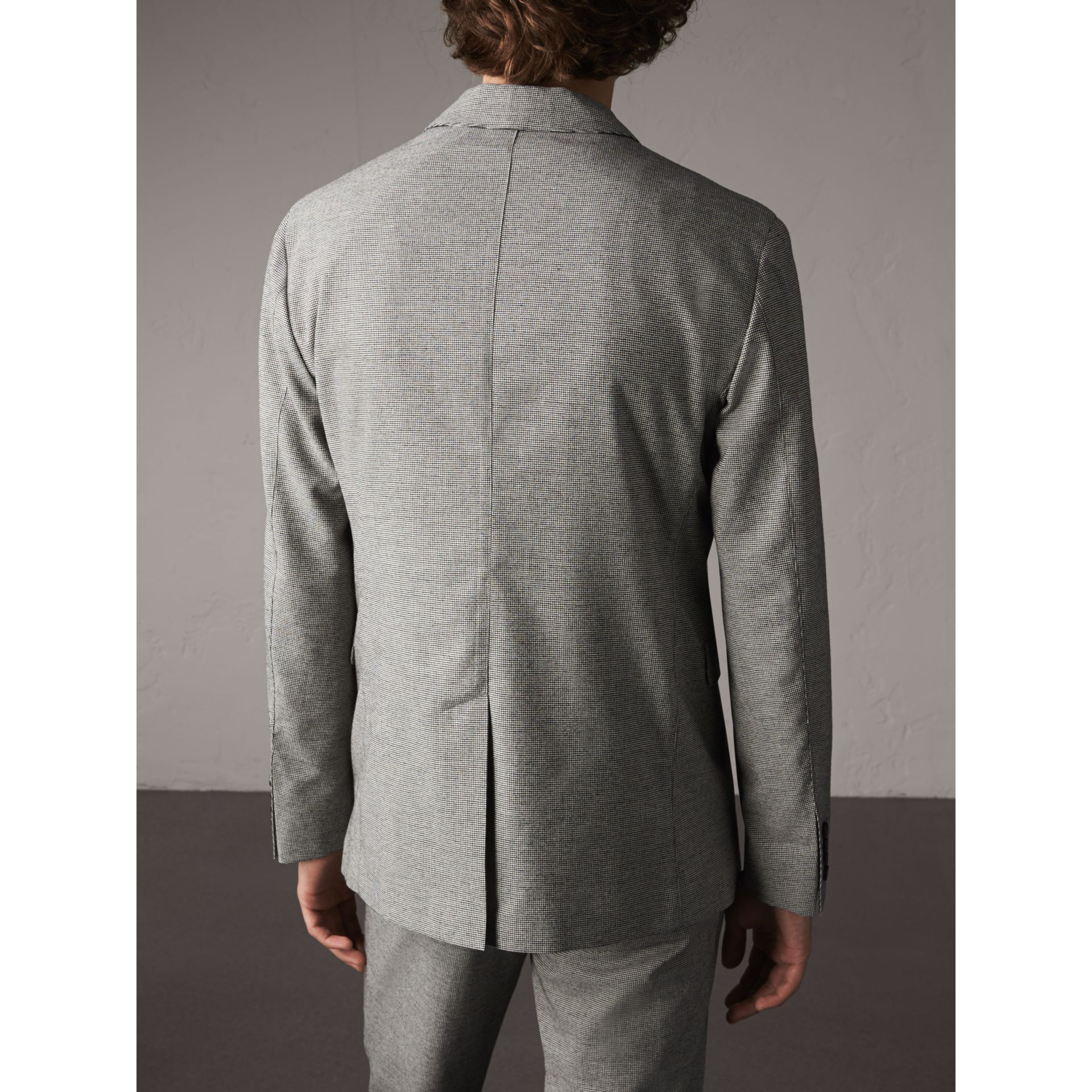 Micro Houndstooth Cotton Wool Blend Blazer in Charcoal - Men | Burberry Australia - gallery image 3