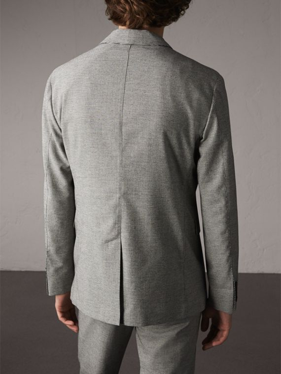 Micro Houndstooth Cotton Wool Blend Blazer in Charcoal - Men | Burberry - cell image 2
