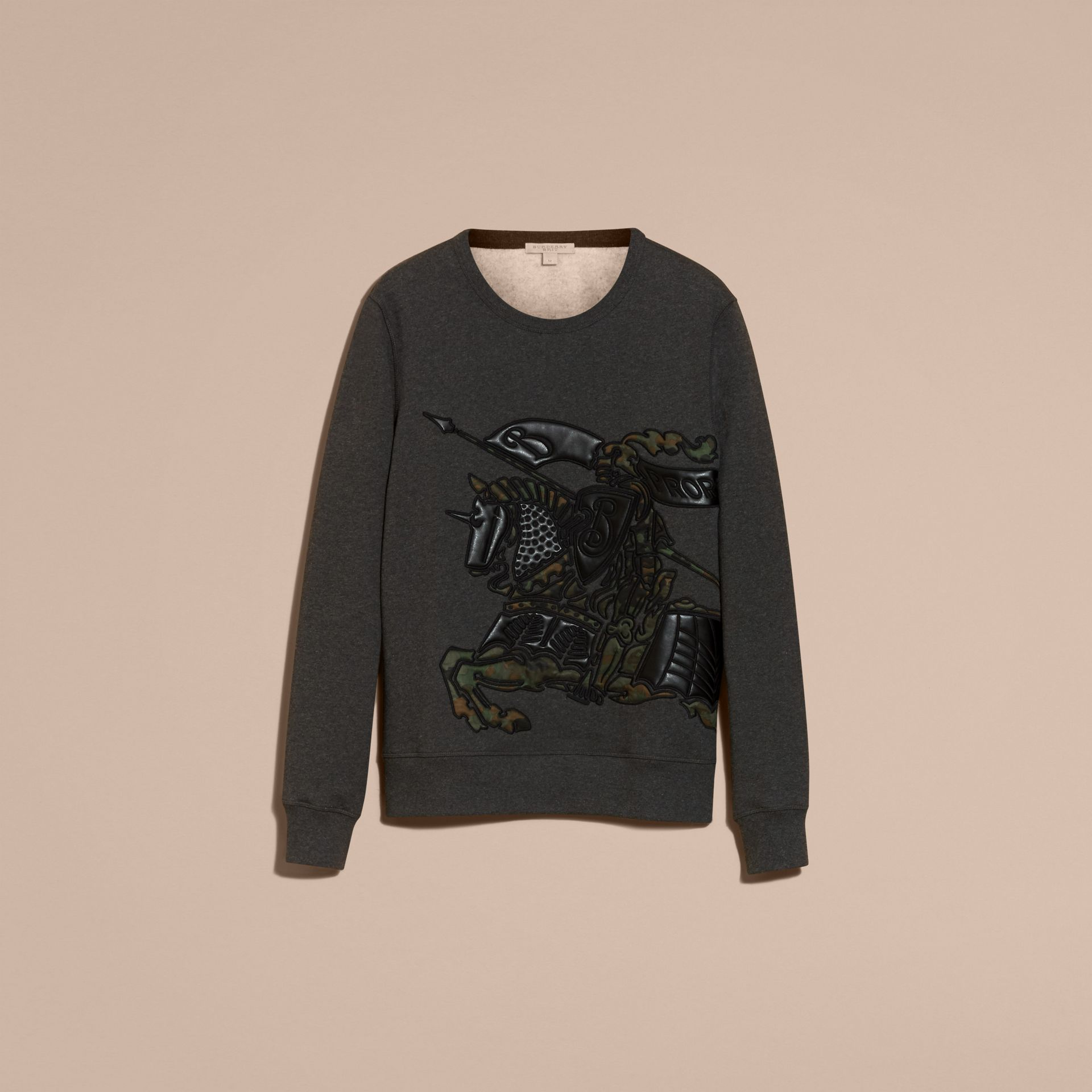 Charcoal melange Equestrian Knight Motif Cotton and Lambskin Sweatshirt - gallery image 4