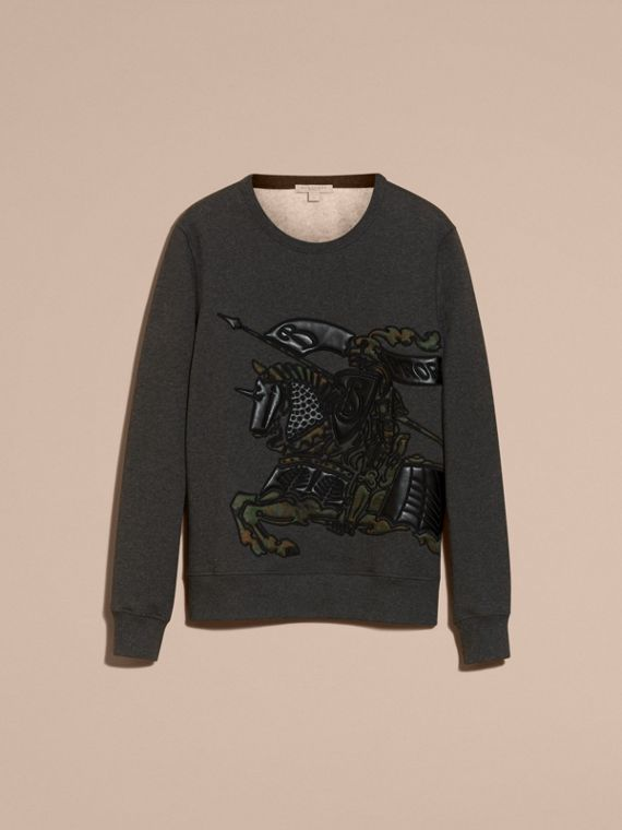 Charcoal melange Equestrian Knight Motif Cotton and Lambskin Sweatshirt - cell image 3