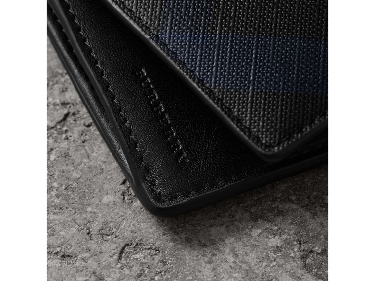 London Check and Leather Continental Wallet in Navy/black - Men | Burberry - cell image 1