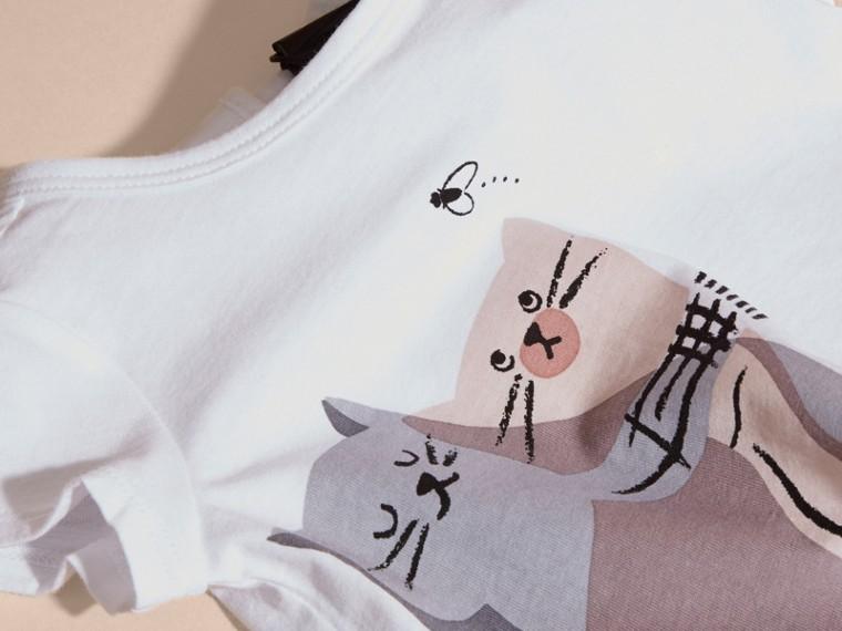 Rosa gesso T-shirt in cotone con gatto - cell image 1