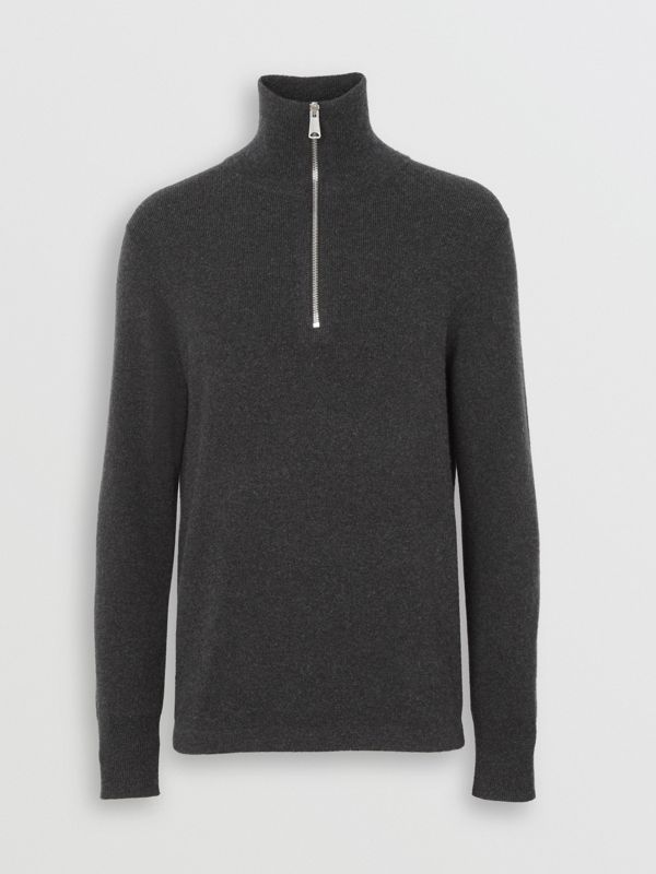 Rib Knit Cashmere Half-zip Sweater in Charcoal Melange - Men | Burberry - cell image 3