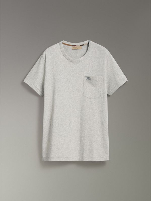 Pocket Detail Cotton Jersey T-shirt in Pale Grey Melange - Men | Burberry - cell image 3